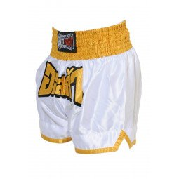 "Short Boxe Thai ""FIGHTER"" Blanc/Jaune"
