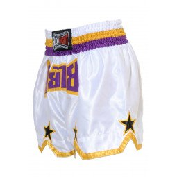 "Short Boxe Thai ""STAR"" Blanc/Violet"