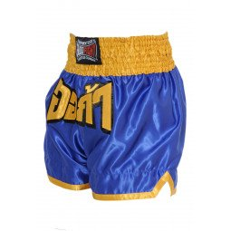 "Short Boxe Thai ""FIGHTER"" Bleu/Jaune"