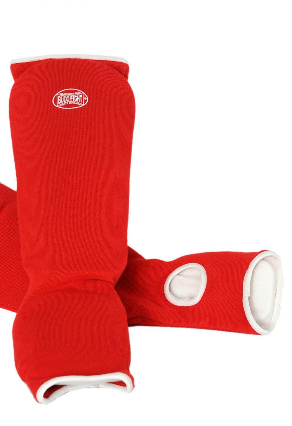 Protege Tibia et Pied Coton Souple Rouge