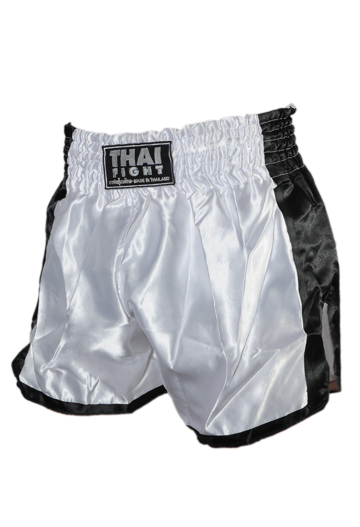 Short Boxe Thai ThaiFight Blanc/Noir