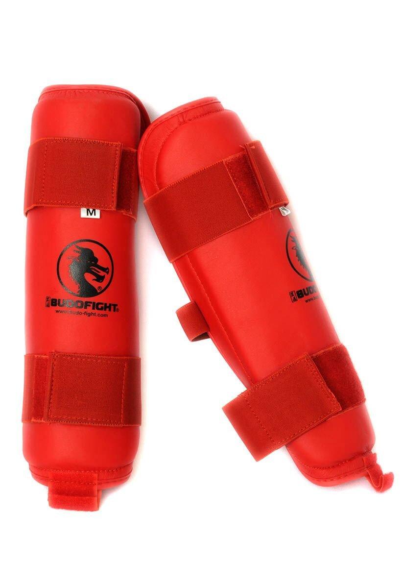 Protège tibia détachable PU rouge
