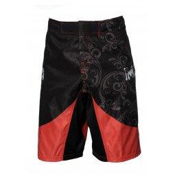 Short MMA imprimé noir et rouge