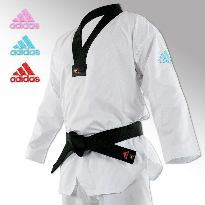 Dobok Taekwondo Adi-Contest logo Bleu