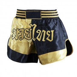 Short Boxe Thaï noir/or