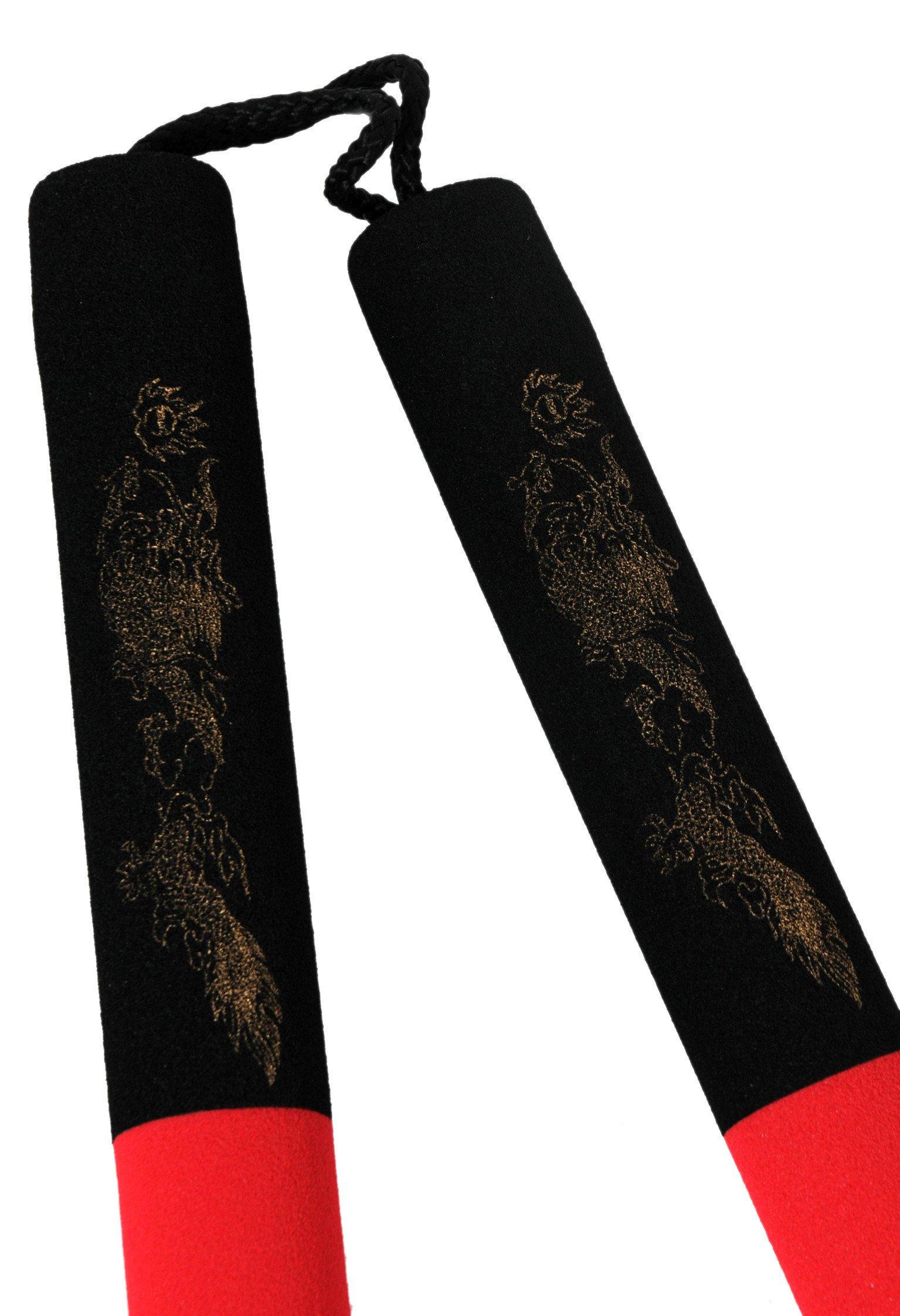 Nunchaku à Corde Mousse 30cm noir/rouge