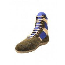 Chaussures de Boxe Francaise Rivat Top Classique Bleu Roy / Gris