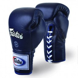 Gants de Boxe Fairtex Combat Lacets Pro Thaï Bleu