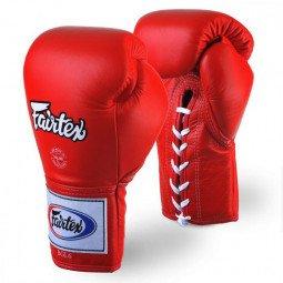 Gants de Boxe Fairtex Combat Lacets Pro Thaï Rouge