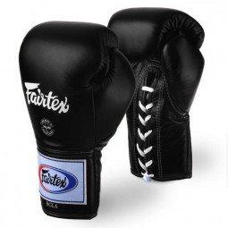 Gants de Boxe Fairtex Combat Lacets Pro Thaï Noir