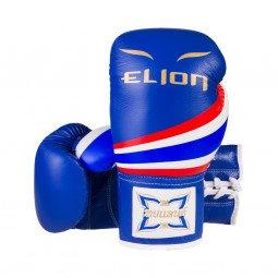 Gants de Boxe Compétition Elion Lacets Bleu Tout Cuir Thaï