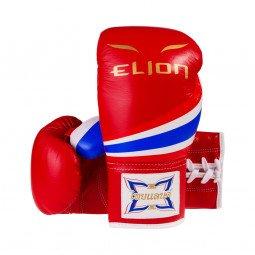Gants de Boxe Compétition Elion Lacets Rouge Tout Cuir Thaï