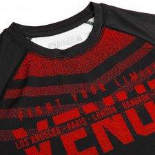 Rashguard Venum Signature à manches courtes Noir/Rouge