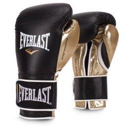 Gants de boxe entraînement Everlast Powerlock cuir Noir/Or