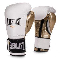 Gants de boxe entraînement Everlast Powerlock cuir Blanc/Or
