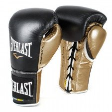 Gants de boxe combat Everlast Powerlock Pro Noir/Or