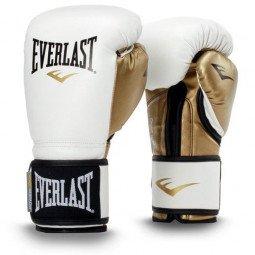 Gants de boxe entraînement Everlast Powerlock Simili-cuir Blanc/Or