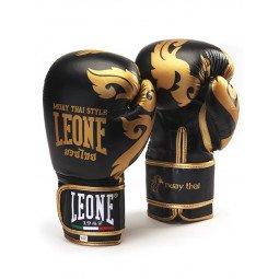 """Gants de boxe Leone 1947 """"Muay Thaï"""" Noir cuir"""