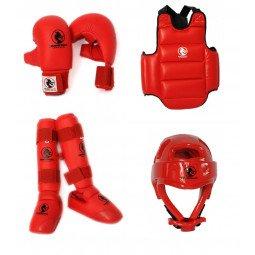 Pack protection karaté Kumite Expert rouge
