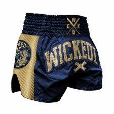 Short de boxe thaï WickedOne Shining navy & or