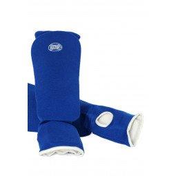 Protege Tibia et Pied Coton Souple Bleu