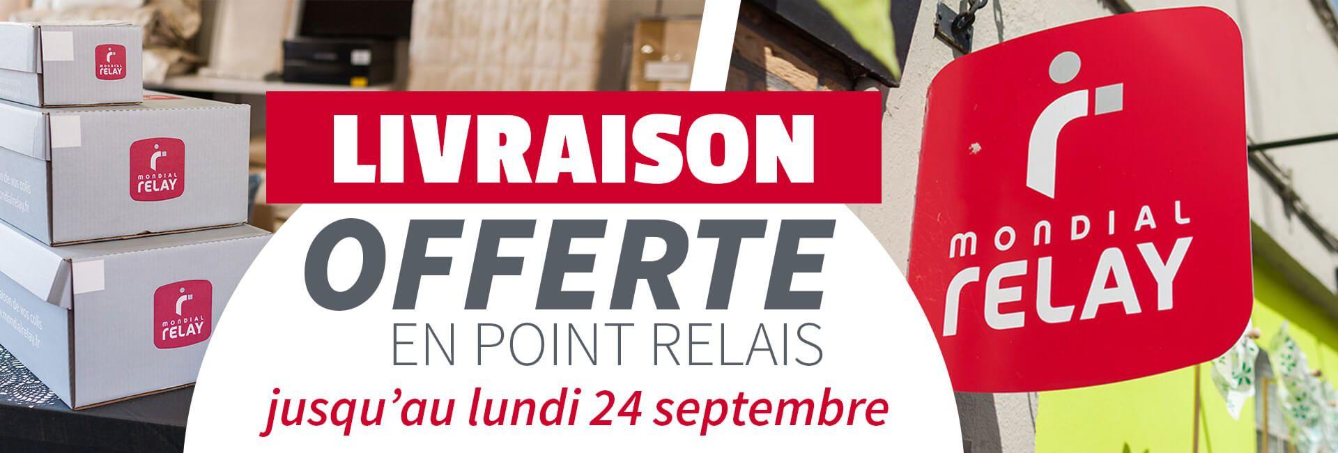 Livraison gratuite en point relais jusqu'au lundi 24 septembre !