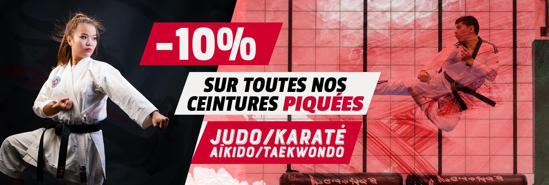 -10% sur toutes nos ceintures piquées Judo, Karaté, Aikido, Taekwondo